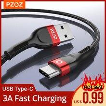 Pzoz usb tipo c cabo usb c carregamento rápido cabo de dados carregador usb-c para samsung a51 s10 s9 mais xiaomi redmi nota 9s tipo-c cabo