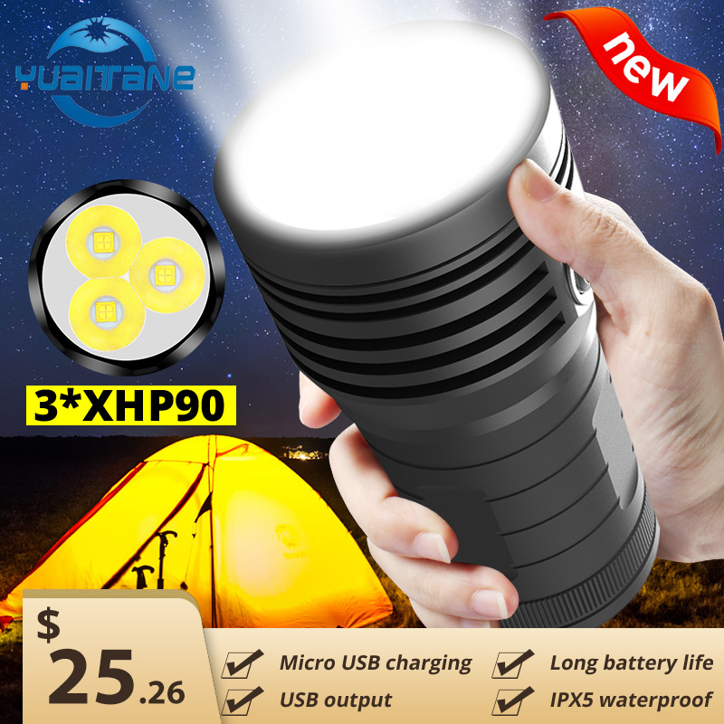 3*XHP90 Ultra Powerful LED Searchlight Flashlight 10400mAH Power Bank Built-in 4*18650 Battery USB Rechargeable Camping Light