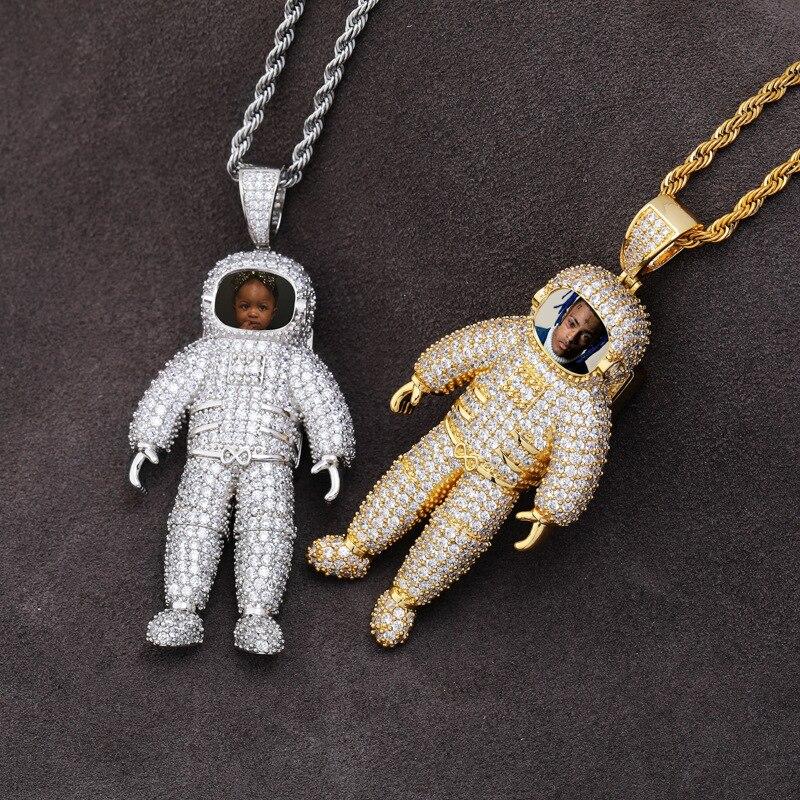Hip Hop plein AAA CZ pierre Bling glacé astronaute personnalisé cadre Photo mémoire médaillons pendentifs collier pour hommes rappeur bijoux