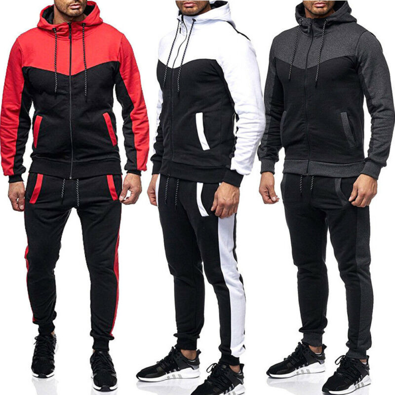 Casual Mens Zipper Slim Fit Tracksuit Set Hoodie Fashion Autumn Winter Color Matching Sport Gym Jogging Suits