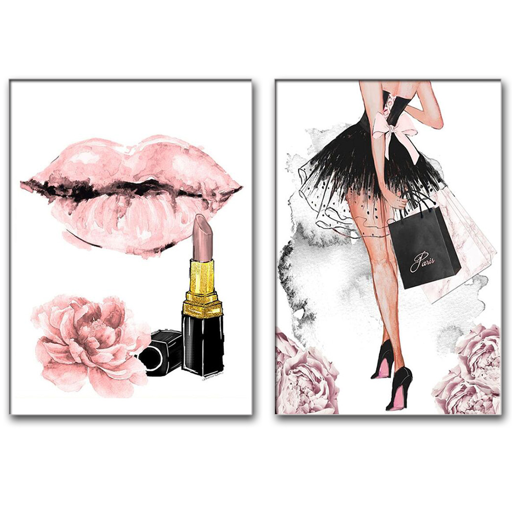 Diamond painting girl perfume flower lipstick high heels wall art nordic rhinestone embroidery mosaic picture for fashion shop d