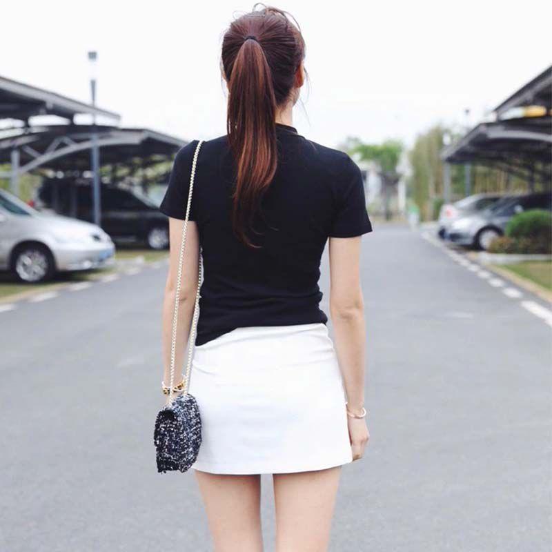 Women Solid Black T-Shirt Slim Short Sleeve T-Shirts Ladies Basic Tee Tops Turtleneck Summer Tshirt 2020 4