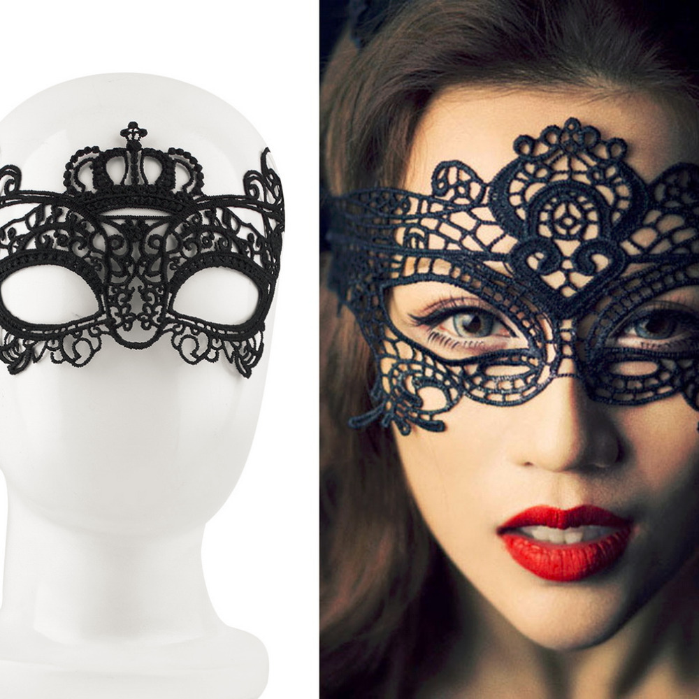 <font><b>2018</b></font> Black <font><b>Sexy</b></font> Lady Lace Mask Eye Mask For Masquerade Ball Party <font><b>Halloween</b></font> Costume Great Props Mardi Gras Celebration image