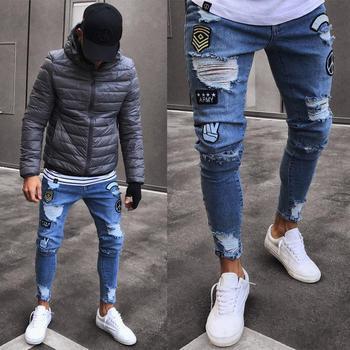 цена на 2019 Men Stylish Ripped Jeans Pants Biker Skinny Slim Straight Frayed Denim Trousers Fashion skinny jeans men Clothes