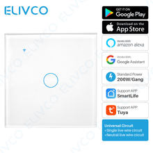 Tuya Smart WiFi Light Switch No Neutral Wire Required Wireless Smart Touch Switch 1 2 3 Gang Woeks With Alexa Google Assistant