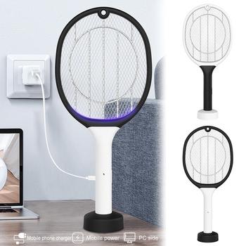 Akumulator USB elektryczna packa na komary owad ręczny LED bezpieczny dla domu HKS99 tanie i dobre opinie CN (pochodzenie) 220 v 2-warstwowa 2200 v Rechargeable USB Electric Mosquito 4-6 Godzin Elektryczne Kabel usb do ładowania