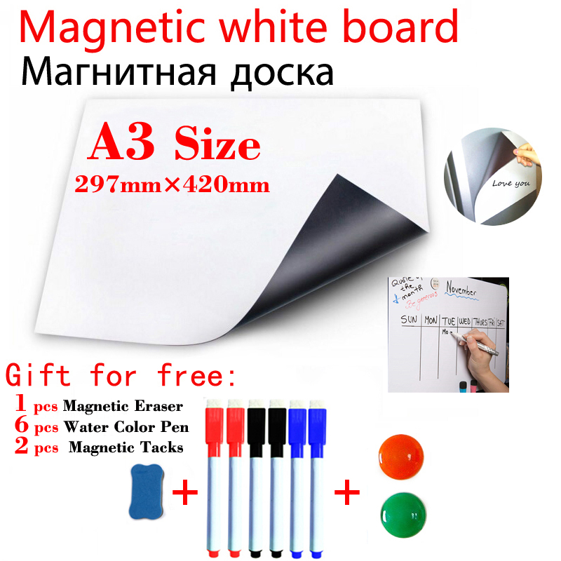 A3 Size Magnet Whiteboard Board Fridge For Kids Magnetic Dry Erase White Boards Kitchen Office Message Boards Student Stationery