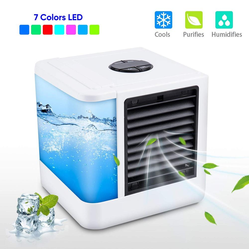 Humidifiers Mini Air Conditioner Air Cooler Fans USB Portable Air Cooler Table Mini Fan For Office Refrigerating Device 7 Color