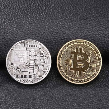1pc 38mm Collection Coin Bitcoin Gold Plated Bronze Physical Bitcoins Casascius Bit Coin BTC New Year Gift Non-currency Coins