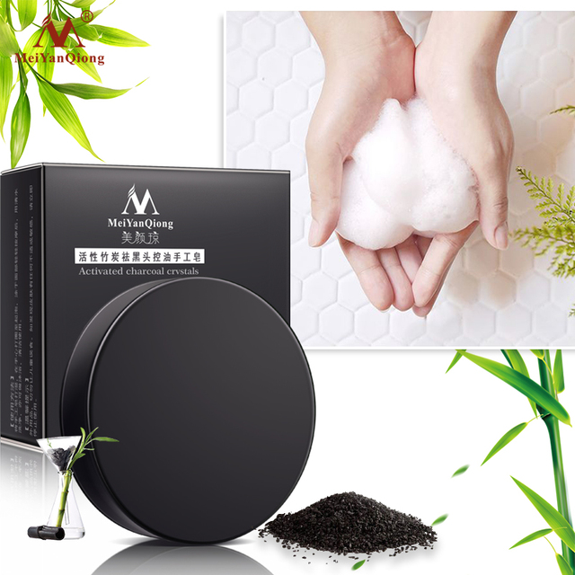 Meiyanqiong New Activated Charcoal Crystals Handmade Soap Face Skin Whitening Soap For Remove Blackhead and Oil Control Washing