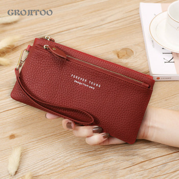 New wallet Korean style genuine leather long first layer cowhide large capacity zipper handbag for women - discount item  42% OFF Wallets & Holders