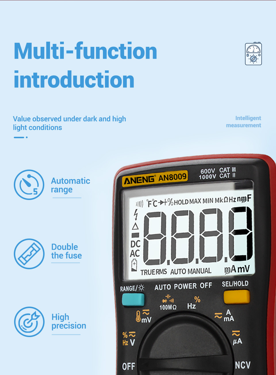 H4c3287a98fe04a3087f80021f727d0c72 ANENG AN8009 True-RMS Digital Multimeter transistor tester capacitor tester automotive electrical capacitance meter temp diode