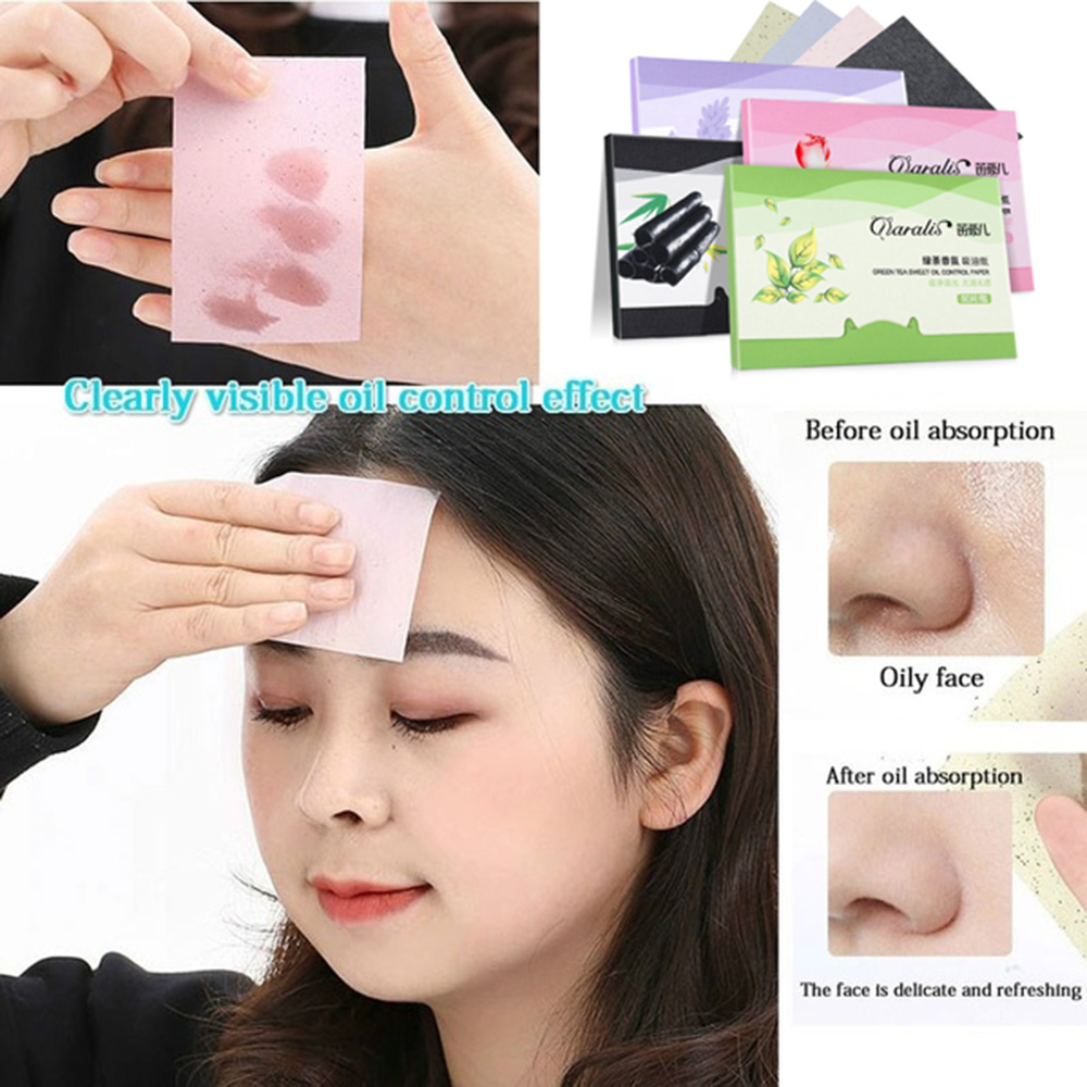 80pcs/pack Portable Shrink Pore Matting Tissue Makeup Tools Face Cleaning Oil Control Absorbent Paper Oil Blotting Sheets image