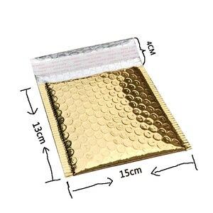 Image 5 - Sobres acolchados de papel dorado con burbujas para envíos, 50 Uds., CD/CVD, bolsa de regalo, sobre de correo de burbujas, 15x13cm + 4cm
