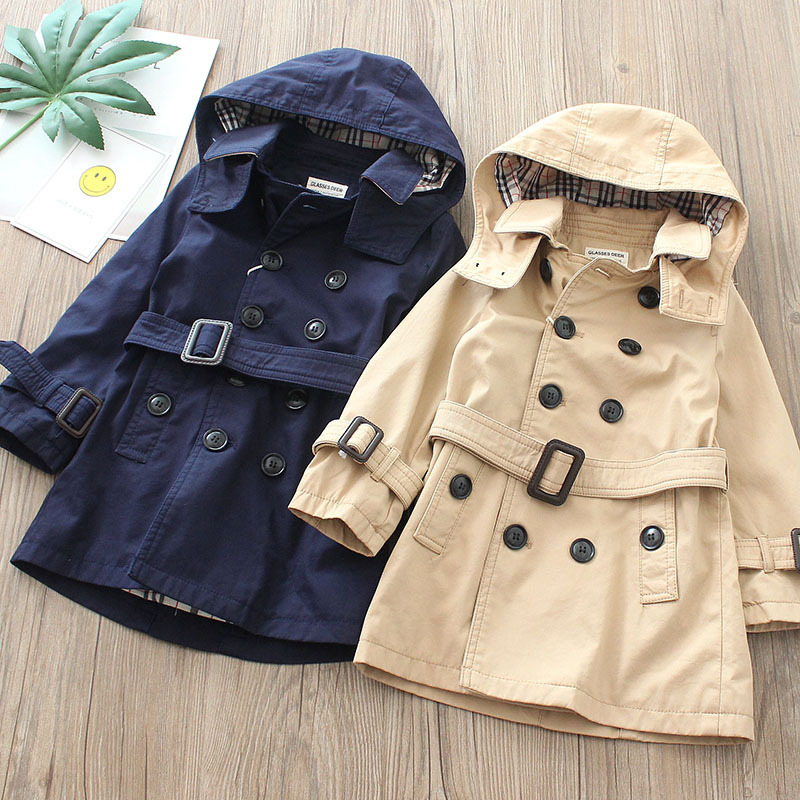 BOY'S Double Breasted Trench Coat 2019 Spring And Autumn New Style Children Cotton Waist Band Big Boy Male Baby Middle Long Coat