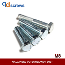 8.8 M8 High Strength Galvanized Outer Hexagon head Bolt GB5782/83 DIN931 ISO 4014