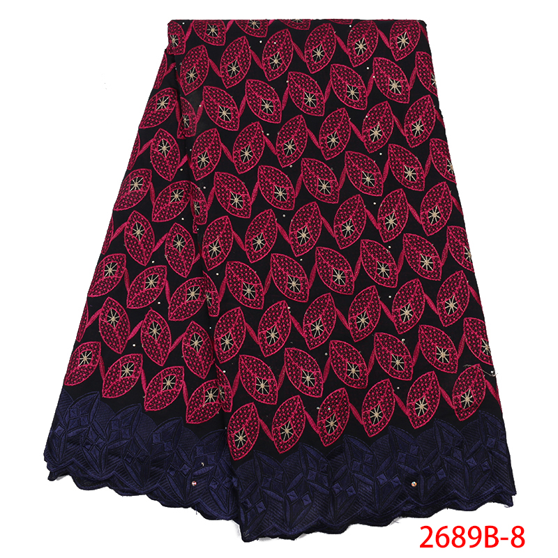 2019 High Quality French Lace Fabric Swiss Voile Lace Cotton Lace Best Nigerian African Lace Fabrics For Women Dress YA2689B-8