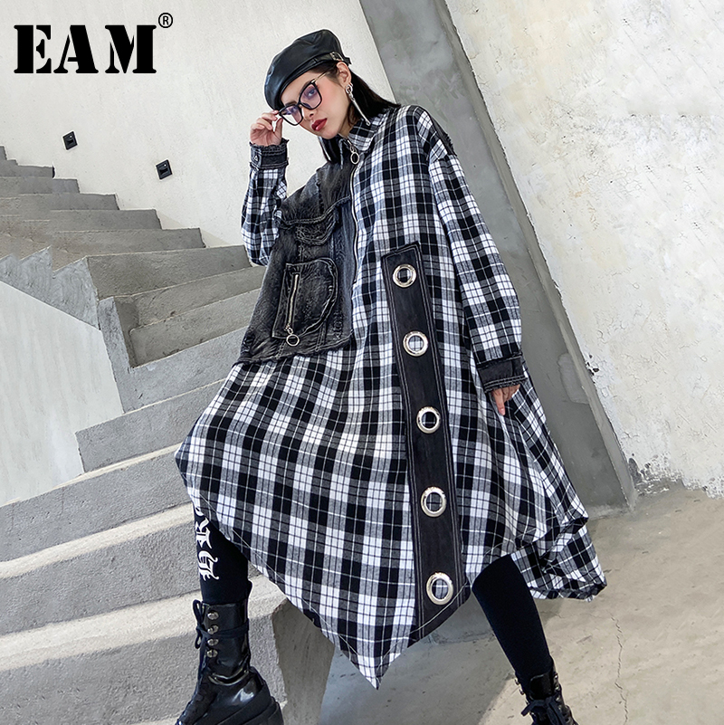 [EAM] Women Black Plaid Split Joint Big Size Shirt Dress New Lapel Long Sleeve Loose Fit Fashion Tide Spring Autumn 2020 1R474