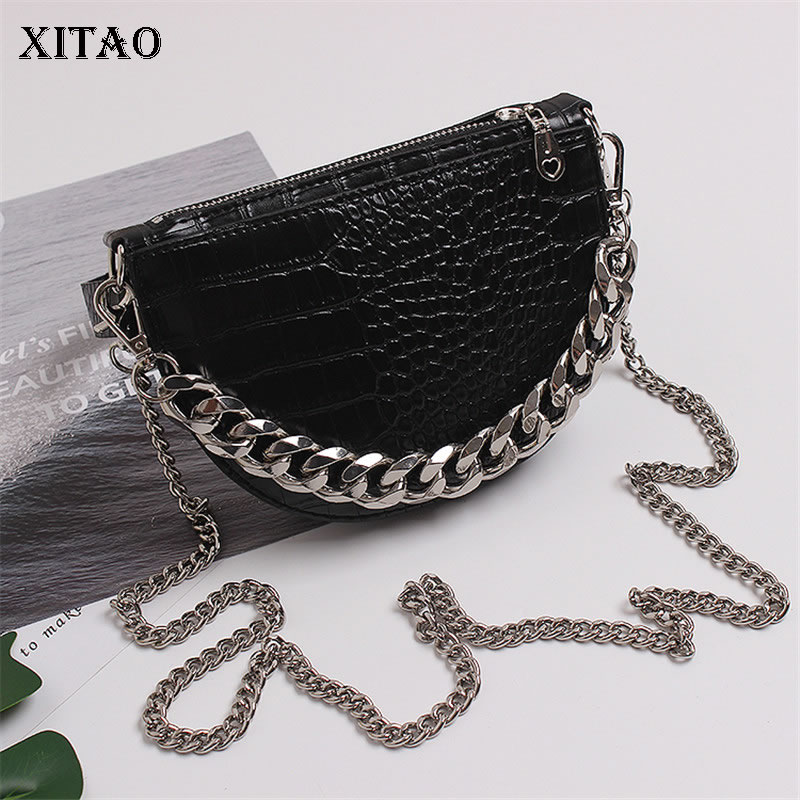 XITAO Cool Wind Design Double Chain Shoulder Strap Semi Circular Shoulder Bag Small Fresh Minority Casual Cummerbunds GCC3025