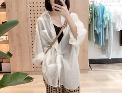 Summer 2020 new loose and thin sunscreen em8 clothing texture stand-up collar shirt female top K7JD11-31