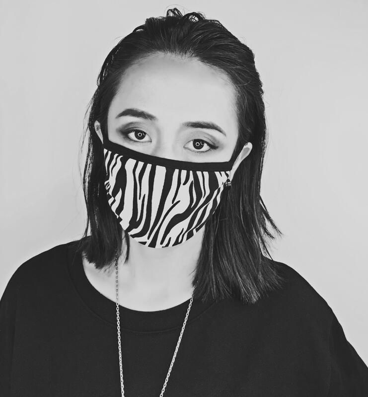 Women's Spring Summer Zebra Stripe Print Sunscreen Mask Lady's PM 2.5 Breathable Cotton Lining Mouth-muffle R2805