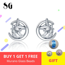 New arrival genuine 925 sterling silver cute unicorn stud earrings for women sterling silver jewelry making women gift czcity brand elegant petal delicate women 925 sterling silver stud earrings for women genuine silver jewelry gift
