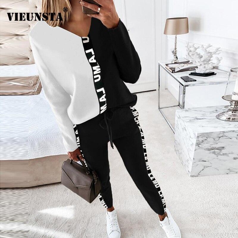 Женские Комбинированные Костюмы для дома с буквенным принтом 2021, пикантные топы с V-образным вырезом, пуловер и брюки на шнуровке, спортивны...