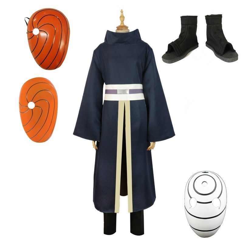 Miễn Phí Vận Chuyển 2019 Naruto Trang Phục Hóa Trang Uchiha Obito Cosplay Áo Dài Tay Áo Đen Và Mặt Nạ Tóc Giả Giày Trang Phục Hóa Trang Halloween
