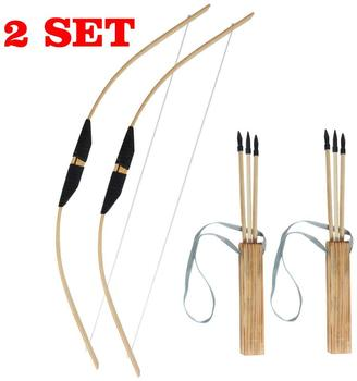 2 SETS Toparchery Archery Wooden Bow Left Handed 3 Arrows Quiver Rubber Tip Longbow Kids Hunting Toy Set