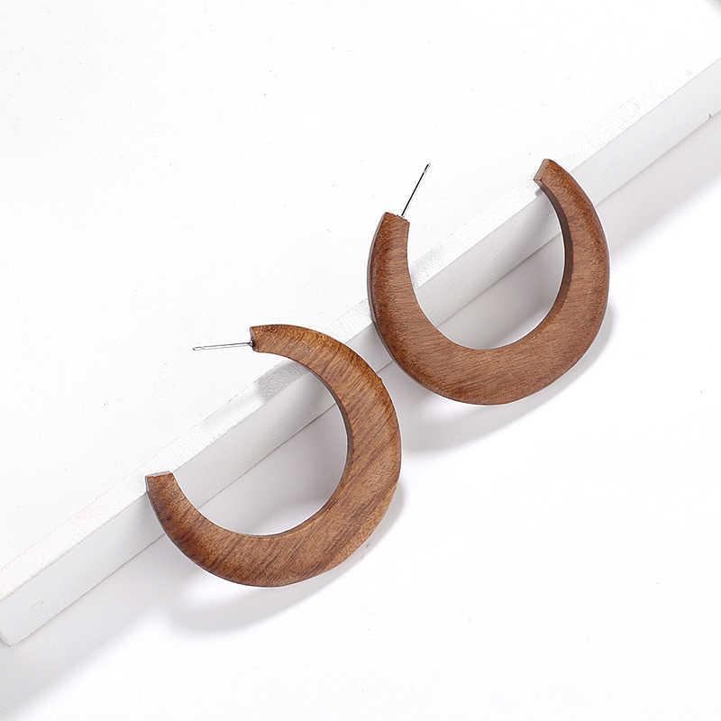 AENSOA ブラウン色ビッグ C の麦粒腫木製イヤリング幾何声明ヴィンテージビッグサークル木製耳リング 2019 ファッションジュエリーギフト