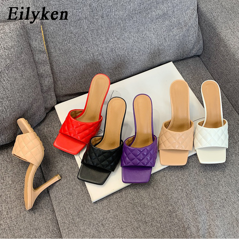 Eilyken Women Mules Summer Slippers Fashion High Quality Sandals Sandals Ladies Design Square Toe Stiletto Heels Wedding Shoes