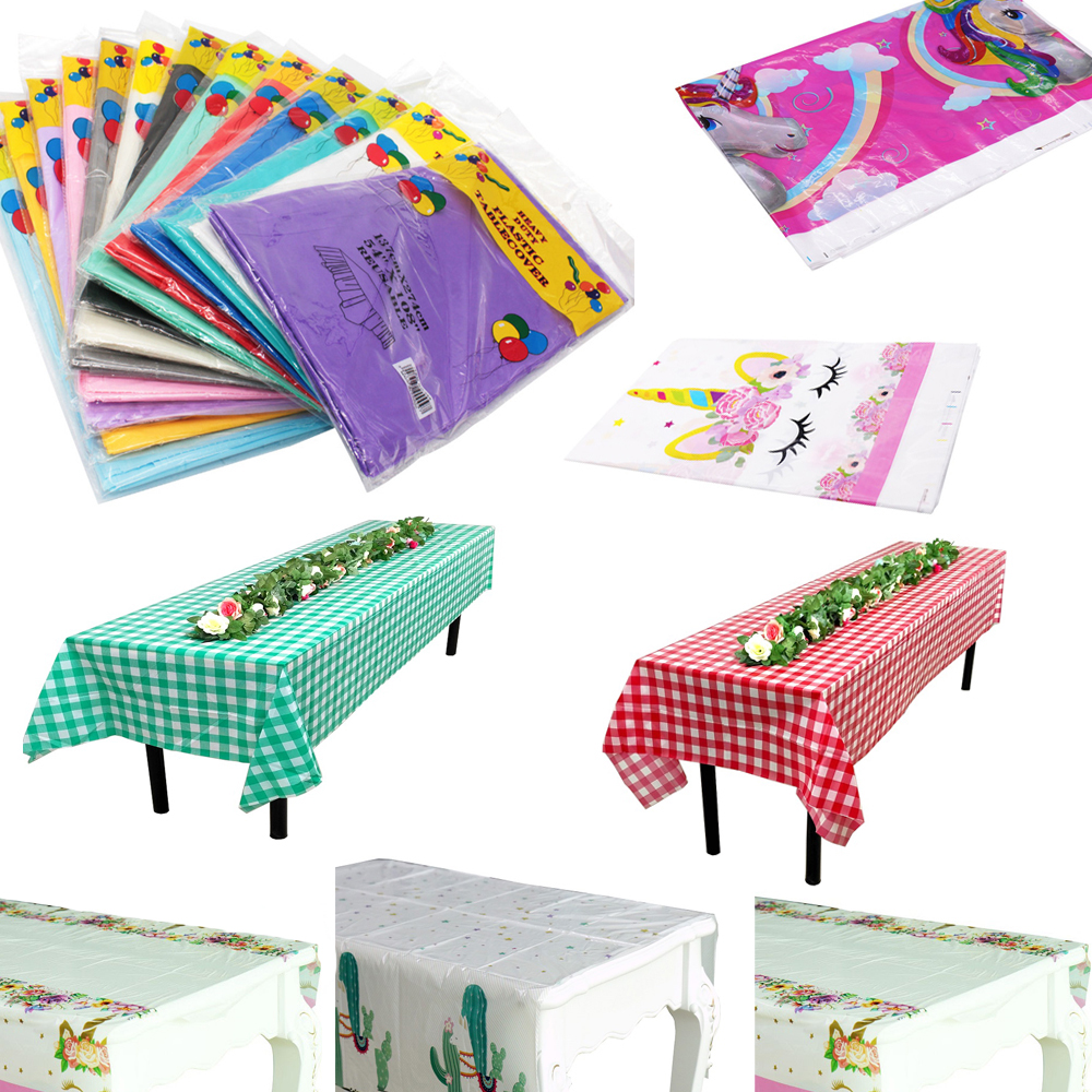Disposable Waterproof Oil-Proof  Plastic Tablecloth Wedding Birthday Party Home Party Festival Baby Shower Table Cover Supplies