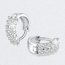 Charm Female White Crystal Stone Earrings Trendy Silver Small Clip Earrings For Women Elegant Bridal Round Wedding Earrings pair of elegant faux gem clip earrings for women