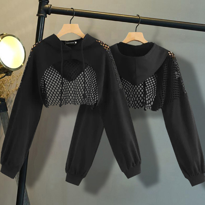 GAOKE Sexy Womens Sweatshirts Hoodie Crop Tops Mesh Patchwork Long Sleeve Cropped Sweatshirt Hooded Pullover 2019 New Autumn