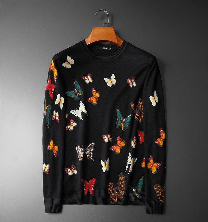 New 2019 Men Luxury Winter Badge Hot Full Of Butterfly Casual Sweaters Pullover Asian Plug Size High Quality Drake #M75
