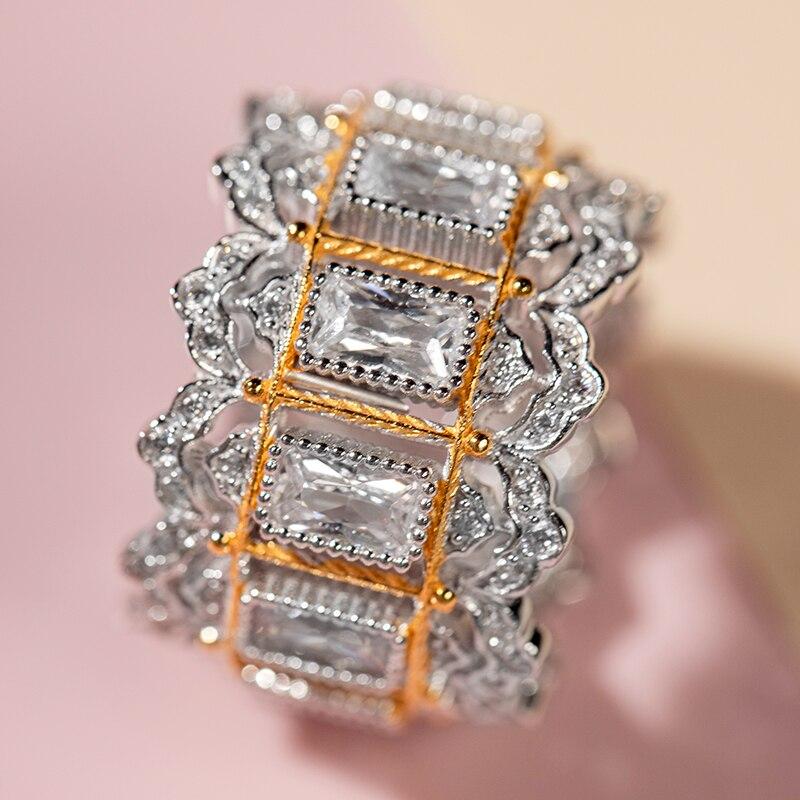 925 argent Zircon anneau argent Bar 925 bijoux pour femmes style cour européenne style vintage