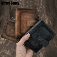 New Retro Wallets For Man Genuine Leather Men's Snap Closure Wallet Male Zipper Coin Purse Card Holder Leather Short Carteira