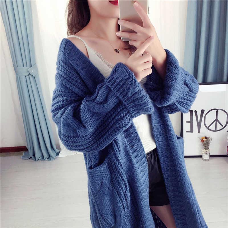 한국어 겨울 가을 카디건 스웨터 2019 우아한 빈티지 니트 느슨한 두꺼운 긴 스웨터 코트 02235223L
