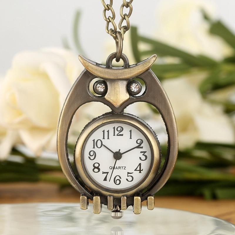 Unique Bronze Hollow-out Pocket Watch Diamond Eye Owl Case Durable Thin Chain Pendant Necklace Quartz Watch Gifts For Men Women