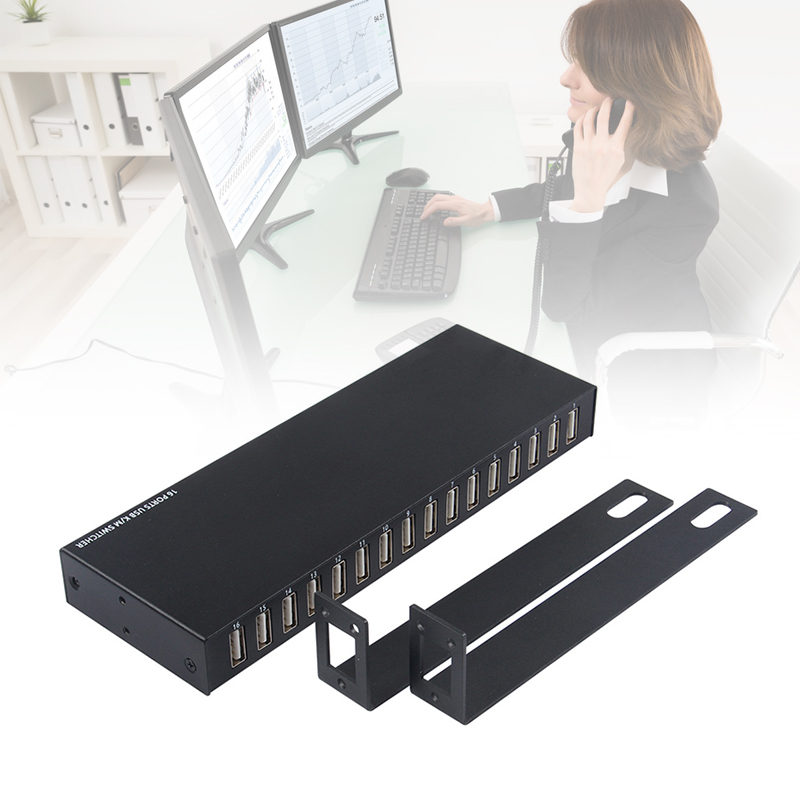 New Hot 16 USB Port Switcher PC Keyboard Mouse Switcher Selector Box Computer Accessories