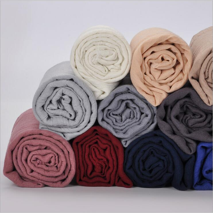 Promotion Sale! Women's Viscose Scarf Muslim Hijab Heascarf Plain Crinkled Long Shawl Fringe Head Wrap Foulard Headband 180x90cm