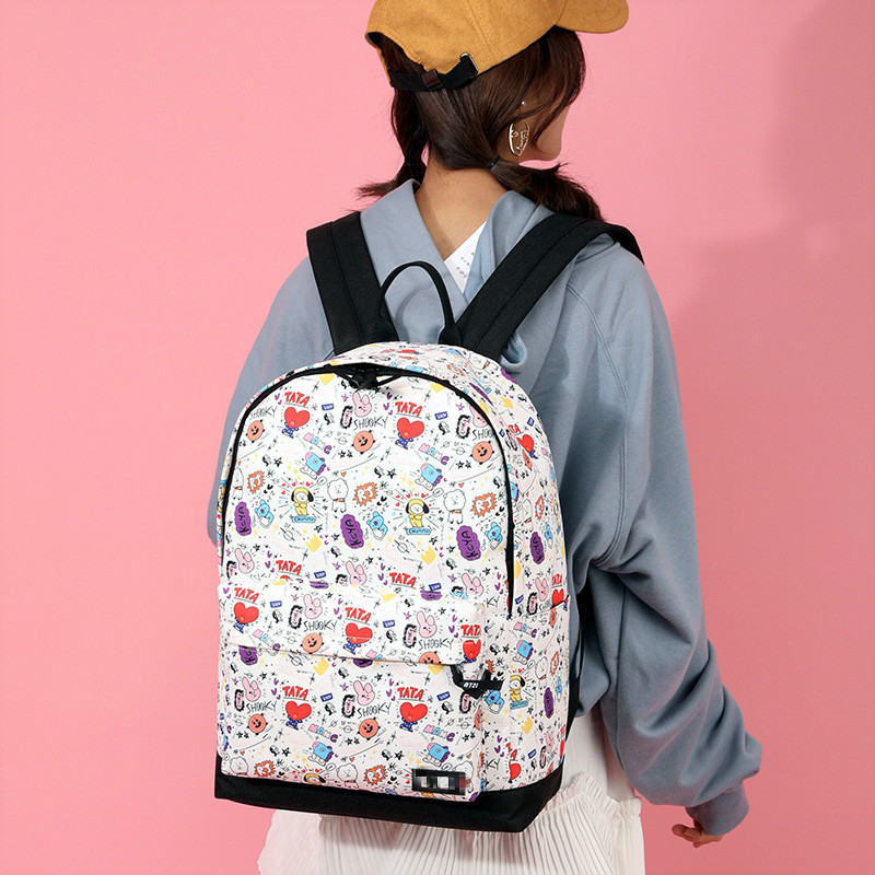 Male&female Backpack Students Kpop Casual Harajuku Style Cartoon Fashion Printed  Computer Pouch Student Women's Bag