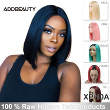 "【Addbeauty】Straight 13x4 peluca delantera de encaje 8 ""-14"" extra Pro Ratio Color Natural/#613/Color rosa pelucas cortas de densidad 150%(China)"