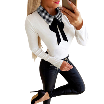 Sale Women Casual Polka Dot Plaid Printed Black Shirt Fashion Long Sleeve Top Turn-down Collar Offical Lady Slim Fit Tee D30 kids heart polka dot tee