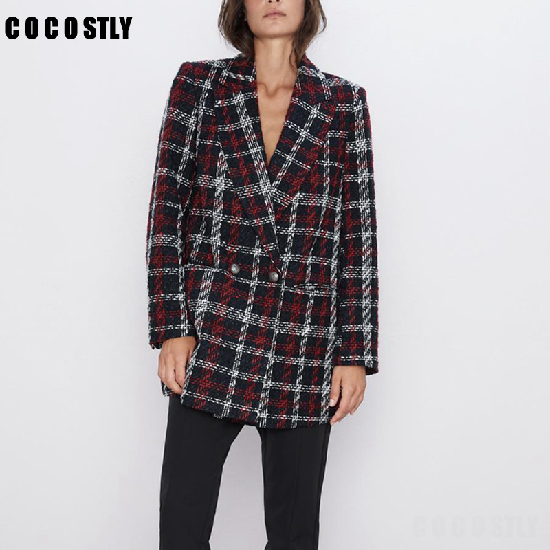 Autumn Winter Vintage Plaid Tweed Blazer Women Suit Jacket Coat Double Breasted Office Lady Outwear Female Blazers Fenimino