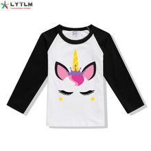 LYTLM Toddler Girl T-shirt Winter New Born Baby Girl Clothing Kids T Shirt Long Sleeve Fall Girls Tops Size 10 Camiseta Unicorn(China)