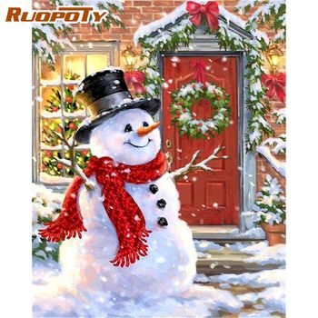 RUOPOTY 40x50cm Paint By Numbers Kits For Kids Beginner Unique Gift Snowman In Front Yard Scenery Oil Picture Home Wall Decor