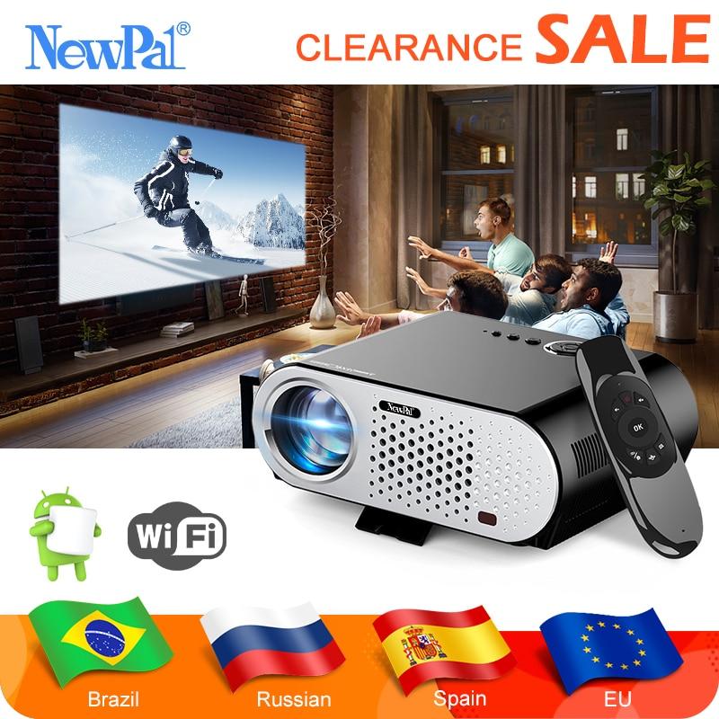 Newpal android projetor 3d gp90 up 3200 lúmen led projetor sobrecarga 1280*800 bluetooth wifi mini beamer airplay miracast ac3