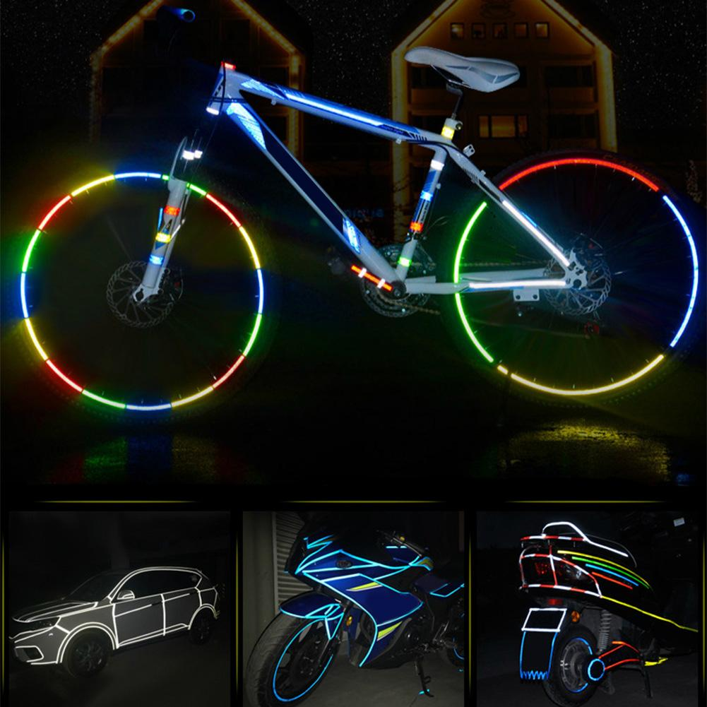 GLE2016 8M Reflective Tape Safety Tapes Warning Strip Self-Adhesive DIY Decoration Bicycle Wheel Rim Light Reflective Wheel Tape Decal Sticker for Bike Car Motorcycle