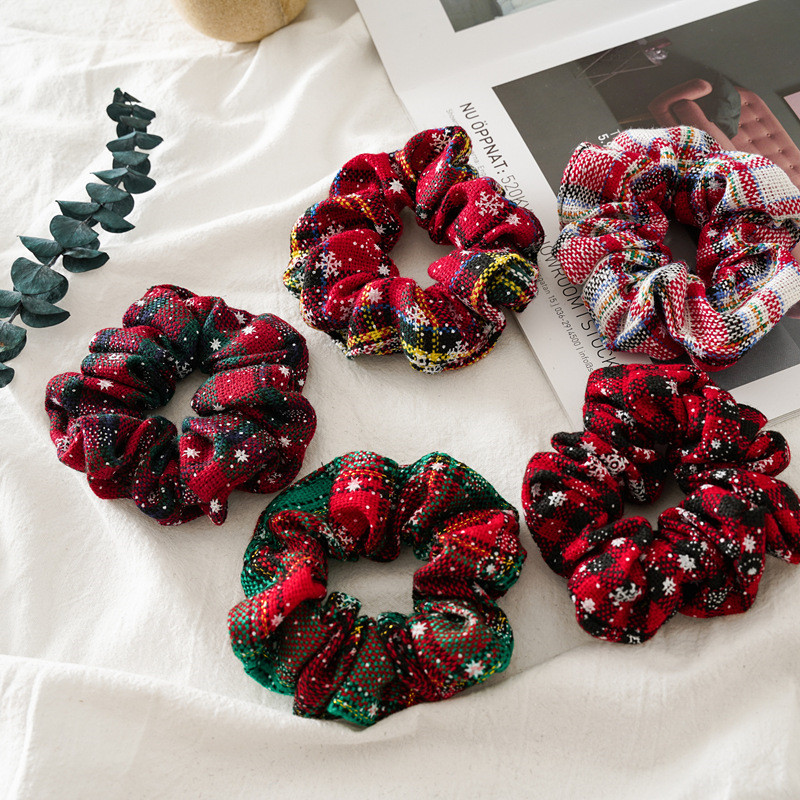 Christmas Hair Scrunchies Elastic Hair Bands Winter Xmas Hair Ties Vintage Ponytail Holder Ladies Headwear Accessories Opaska